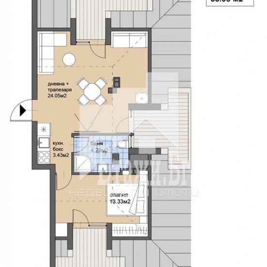 Двустаен  апартамент за продажба  в луксозната бутикова жилищна сграда в кв.Княжево !!!
