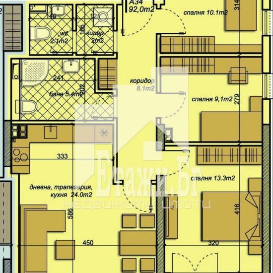 Апартамент с три спални в кв.Бриз